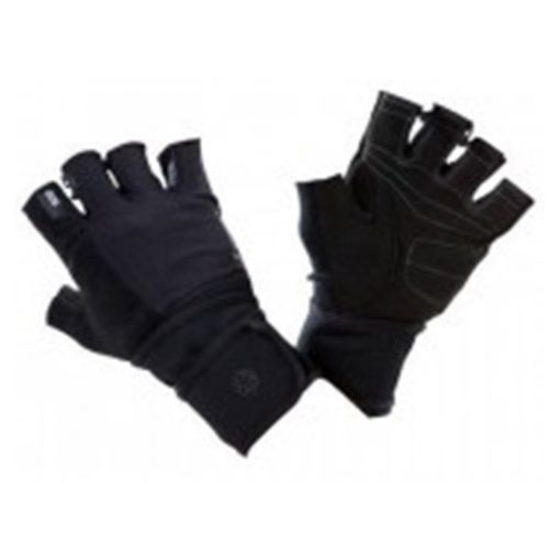 weight training glove with double rip tab cuff black grey