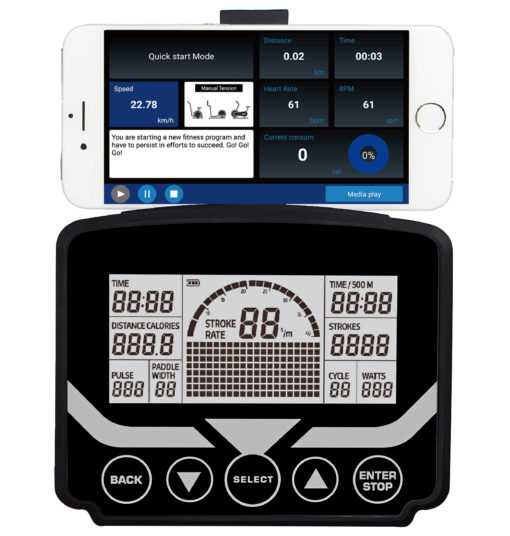 LifeTrac-Commercial-Rower-Screen-&-Smartphone