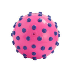 pink ball with purple foam studs approximately cm in diameter